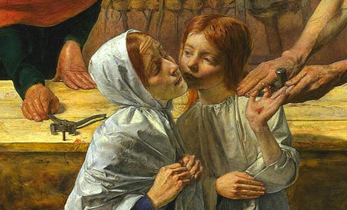 """En esta pintura titulada """"Cristo en casa de sus padres"""", obra de John Everett Millais (obsérvense los trabajos de carpintería en segundo plano), Jesús aparece como un niño pelirrojo de piel clara. (Public Domain)"""