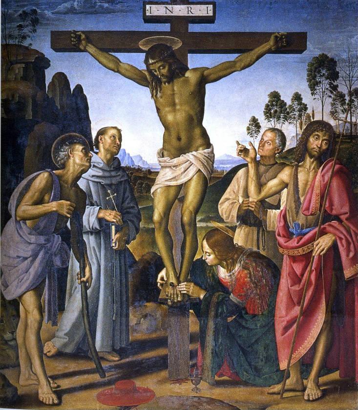 'Crucifixión de Cristo con santos', óleo de Pietro Perugino, circa 1485-90. (Dominio público)