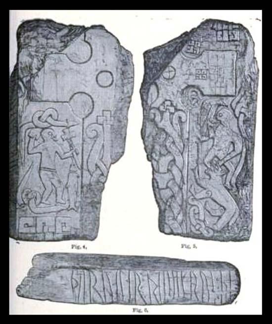 Los grabados de la Cruz de Thorwald según Kirk Andreas, isla de Man. (Dominio público) La escena ha sido interpretada como la figura de Odín con un cuervo o águila sobre su hombro, mientras el dios es devorado por el lobo Fenrir en la batalla final de Ragnarök.