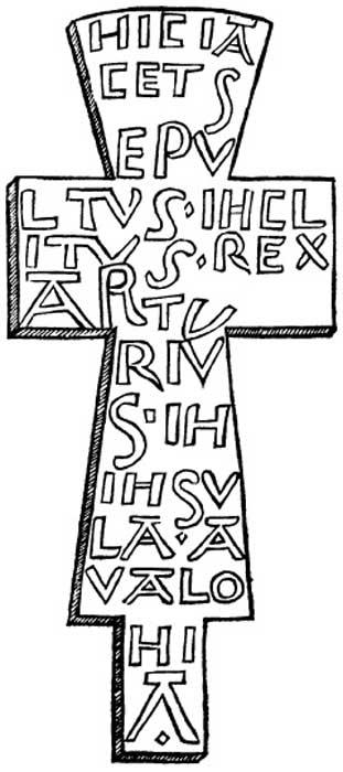 """""""Cruz de plomo hallada en la supuesta tumba de Arturo, Glastonbury."""" Algunos expertos sugieren que esta cruz demostraría que Glastonbury es la Avalon de las leyendas artúricas. (Public Domain)"""