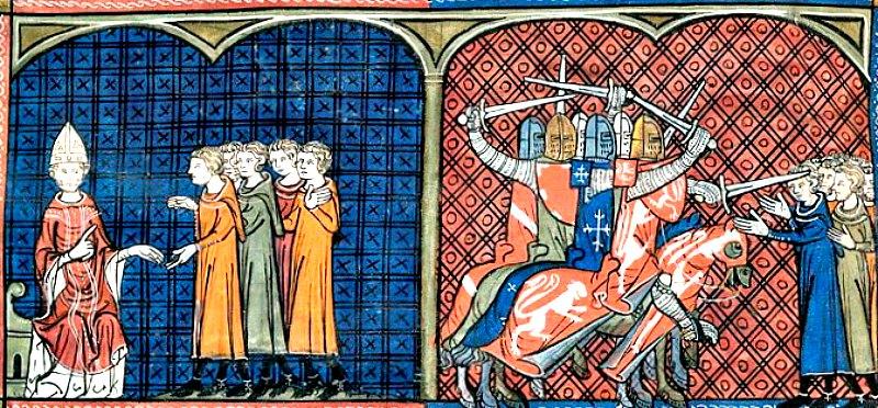 El Papa Inocencio III excomulga a los cátaros (izquierda) y convoca la conocida como Cruzada Albigense contra ellos (derecha). Crónicas de St. Dennis, Biblioteca Británica. (Public Domain)