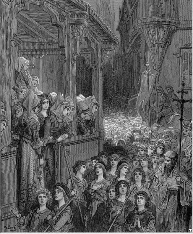 """""""La Cruzada de los Niños"""", grabado de Gustave Doré (Wikimedia Commons)"""