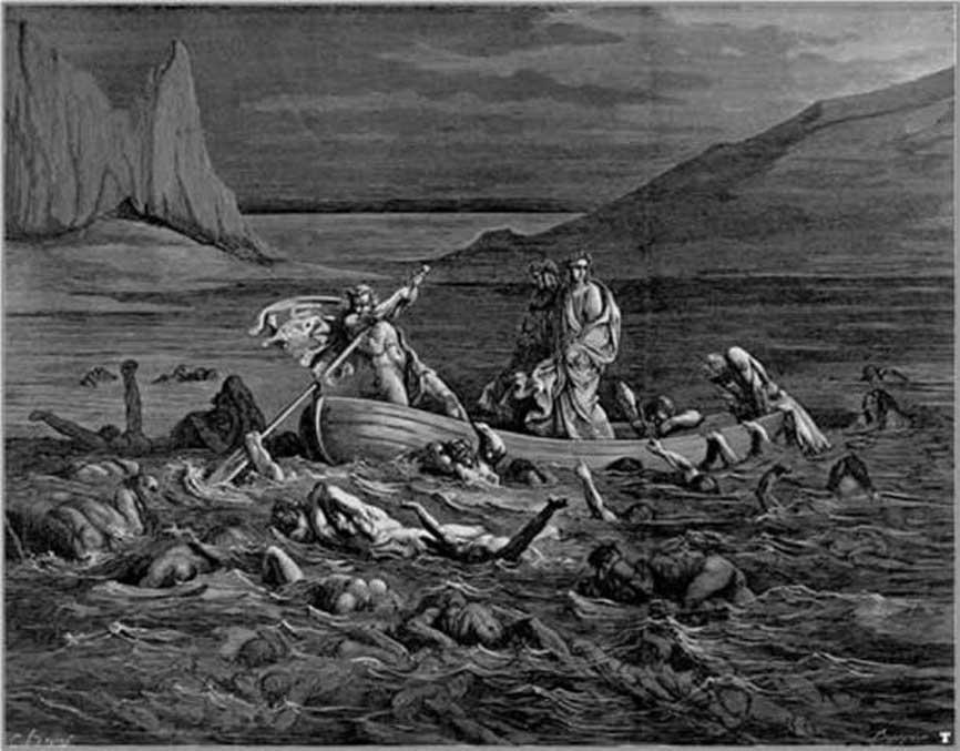 Cruzando el río Estigia, ilustración de Gustave Doré, 1861. (Dominio público)