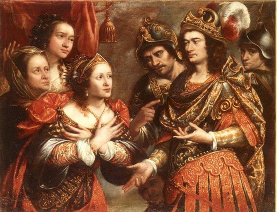 """Cuadro titulado """"La familia de Darío III frente a Alejandro Magno"""", obra de Justus Sustermans. (Public Domain) Hefestión aparece señalando a Alejandro con el dedo índice de su mano derecha."""