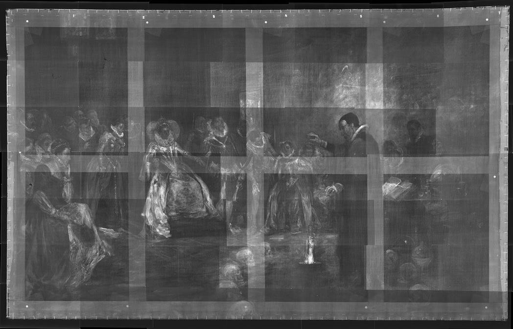 La pintura de Glindoni a través de los rayos X: en ella observamos claramente un círculo de calaveras en torno a John Dee. (Real Colegio de Médicos)