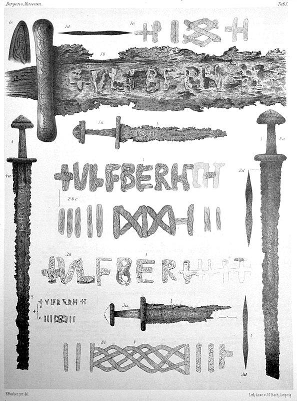 Cuatro espadas Ulfberht halladas en Noruega (dibujos de Lorange, 1889). (Public Domain)