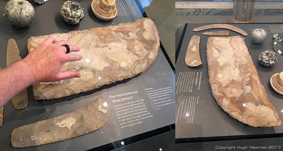 Cuchillo de sílex de gran tamaño expuesto en el Museo Ashmolean. En su descripción se puede leer que su uso era 'ceremonial'. Fotografías de Hugh Newman.