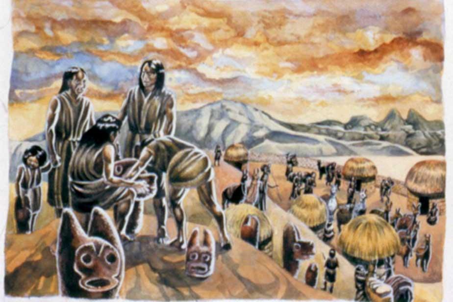 Representación de individuos de la cultura de Wankarani, que habitaba las tierras altas de lo que hoy es Bolivia. (Pablo Villagómez)