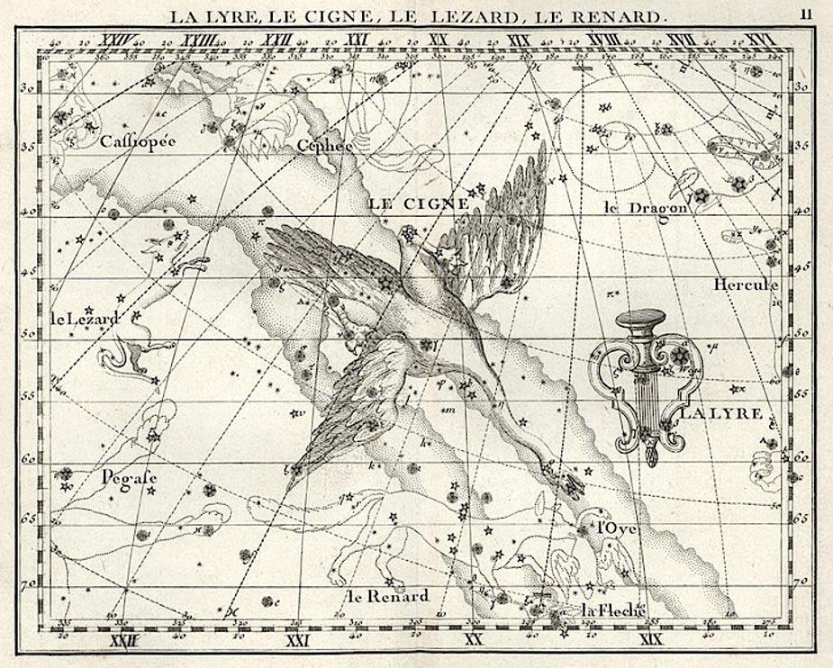 Fig. 11: La constelación del Cisne, representada por un cisne celeste que recorre en su vuelo la Vía Láctea. Dibujo del astrónomo inglés John Flamsteed (1646-1719).