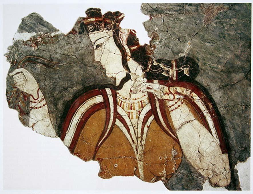"""La """"Dama de Micenas"""". Fresco hallado en Micenas, Grecia continental (Dominio público)"""