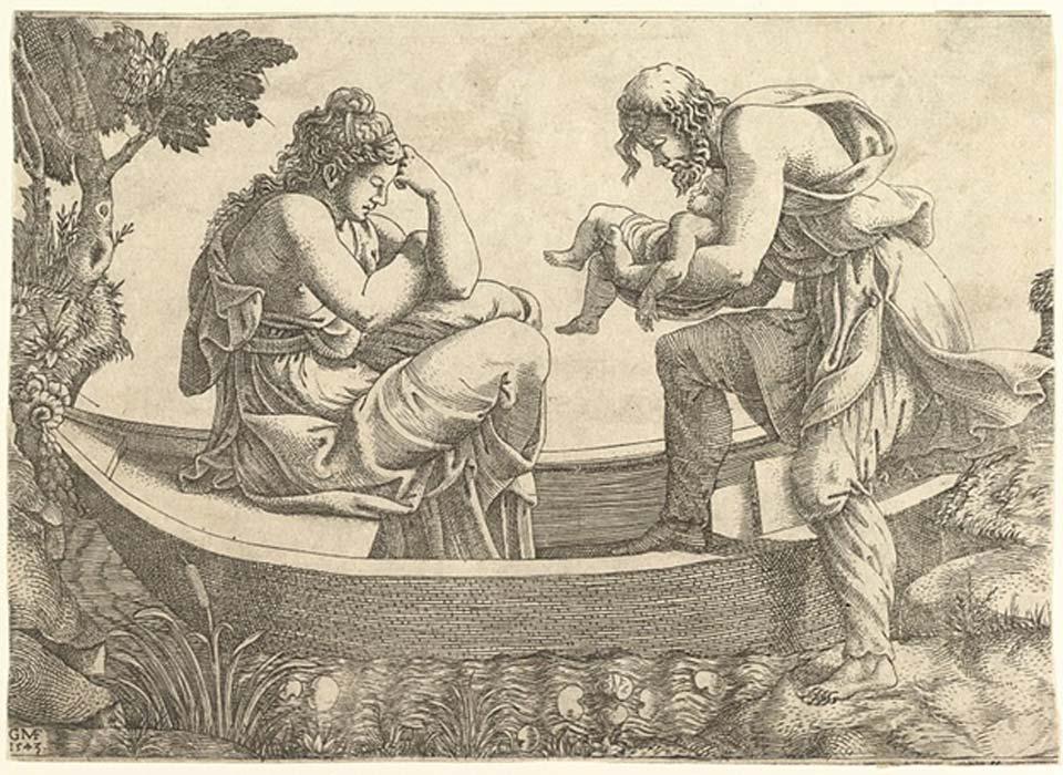Dánae y el pequeño Perseo son abandonados en el mar por su abuelo Acrisio (CC by SA 1.0)