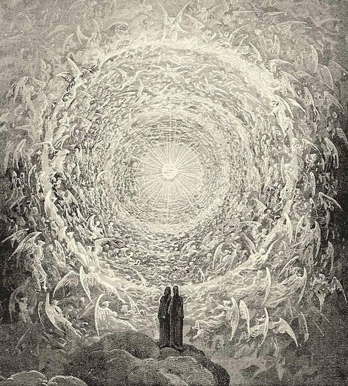 El Paraíso de Dante según Gustave Doré. Dante y Beatriz contemplan las maravillas del más alto de los Cielos, el Empíreo. (Wikimedia Commons)