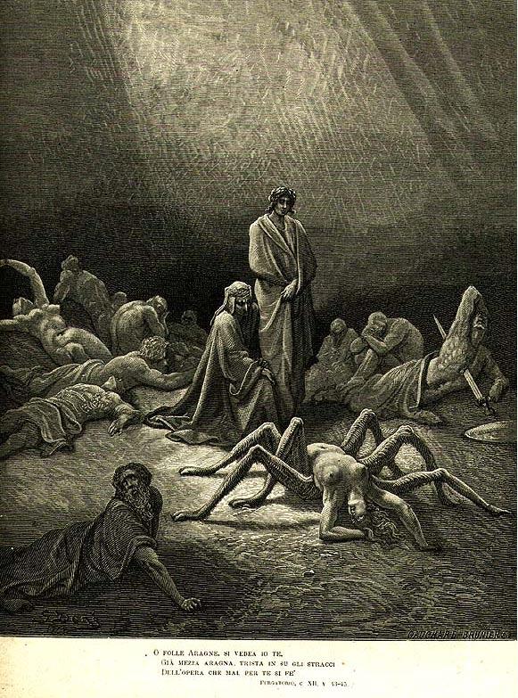 Ilustración 12 del Purgatorio de Dante, por Gustavo Doré, en la que se puede observar a Aracné en una postura convulsa, bajo una forma híbrida de mujer y araña. Public Domain