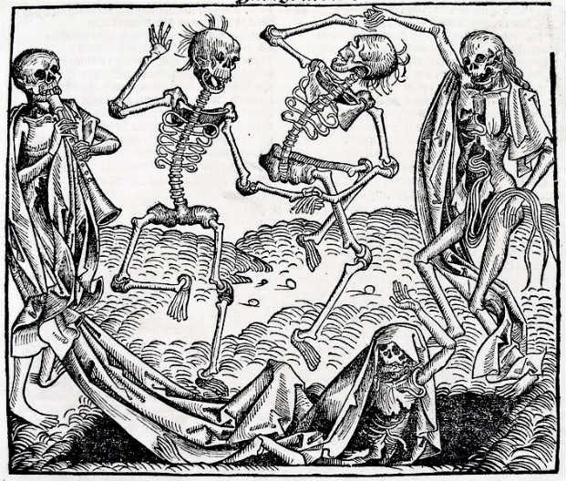 """De los 80.000.000 de personas que habitaban Europa en el año 1346, se pasó a sólo 30 millones en 1353 por culpa de la epidemia de peste. """"Danza macabra"""", de Michael Wolgemut. (Wikimedia Commons)"""