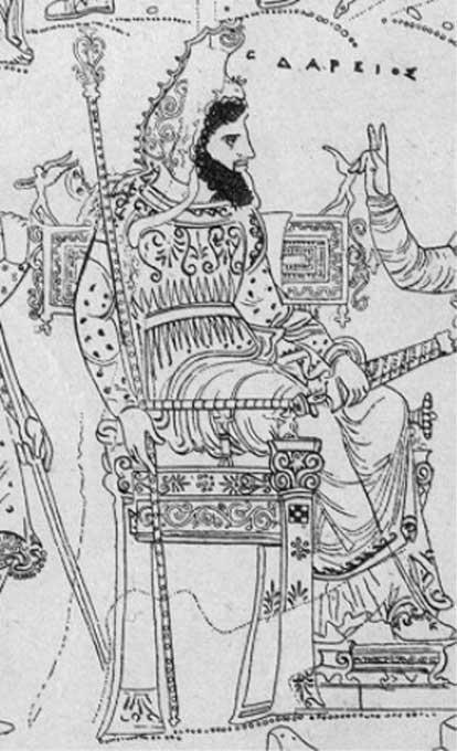 Darío I según la imaginación de un pintor griego, siglo IV a. C. (Dominio público)