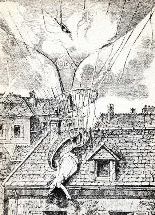 Muerte de Madame Blanchard, una ilustración de finales del siglo XIX. (Juulijs / Adobe)
