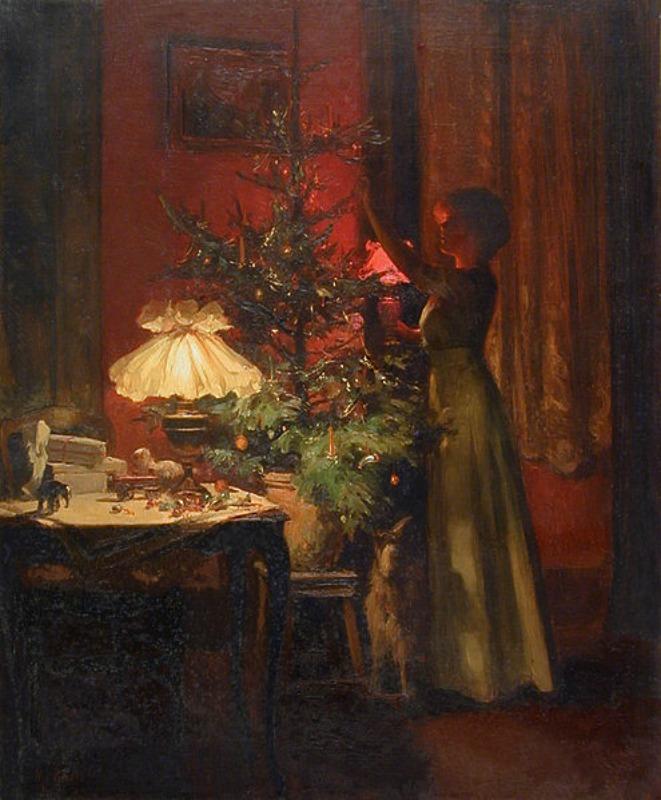 """Joven dama decorando su árbol de Navidad en el cuadro """"Navidad"""" (1898), obra de Marcel Rieder (1862-1942). (Public Domain)"""