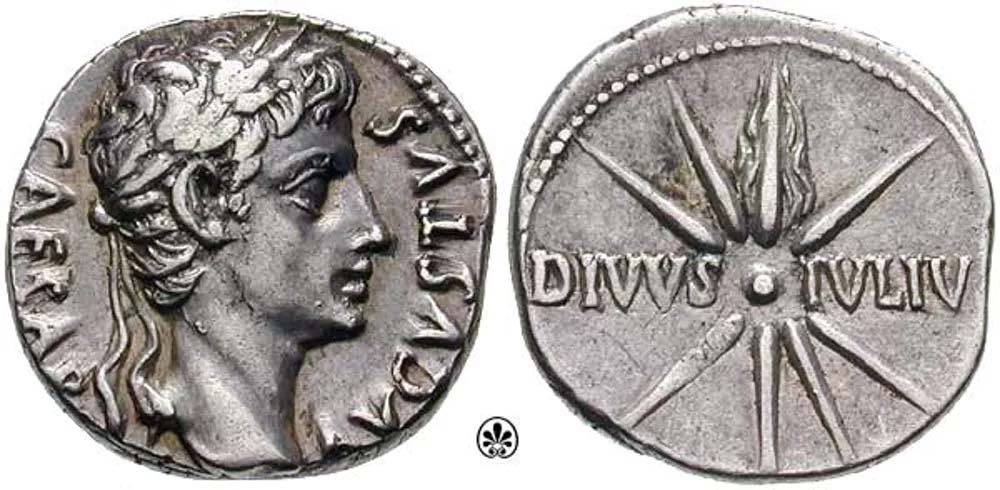 El cometa de Julio César representado en un denario romano (Classical Numismatic Group, Inc./CC BY SA 3.0)
