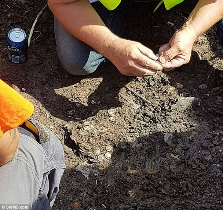 El depósito de más de 600 monedas fue hallado durante una búsqueda organizada con detector de metales en Bridport, Dorset, Reino Unido (Fotografía: SWNS)