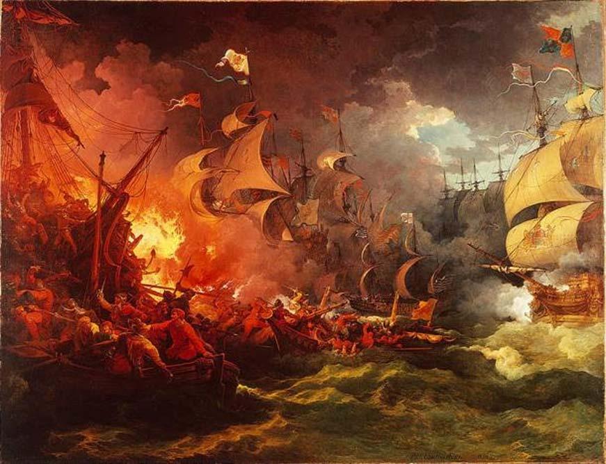 Derrota de la Armada española el 8 de agosto de 1588, óleo de Philip James de Loutherbourg. (Dominio público)