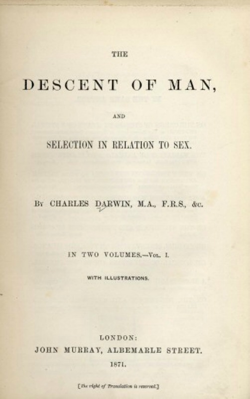 """Descent of Man"", (1871), obra de Charles Darwin. (Public Domain)"