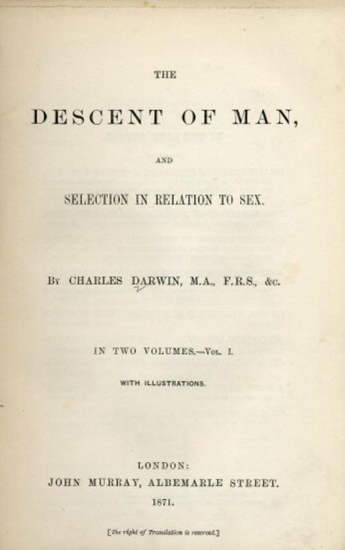 """""""Descent of Man"""", (1871), obra de Charles Darwin. (Public Domain)"""