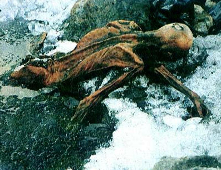 Imagen del Hombre de Hielo tal como fue descubierto en un glaciar del valle de Ötz, Austria. (CC BY NC ND 2.0)