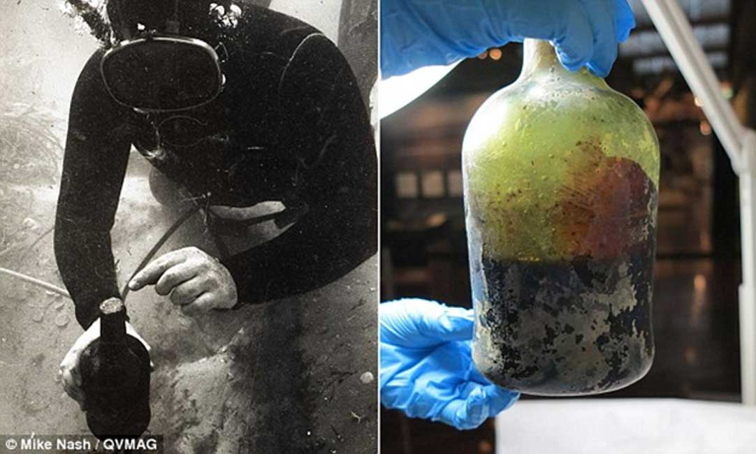 Izquierda: descubrimiento de la antigua botella de cerveza entre los restos hundidos del Sydney Cove en los años 90. Derecha: La botella es sometida a estudio en el laboratorio. (Mike Nash/QVMAG)