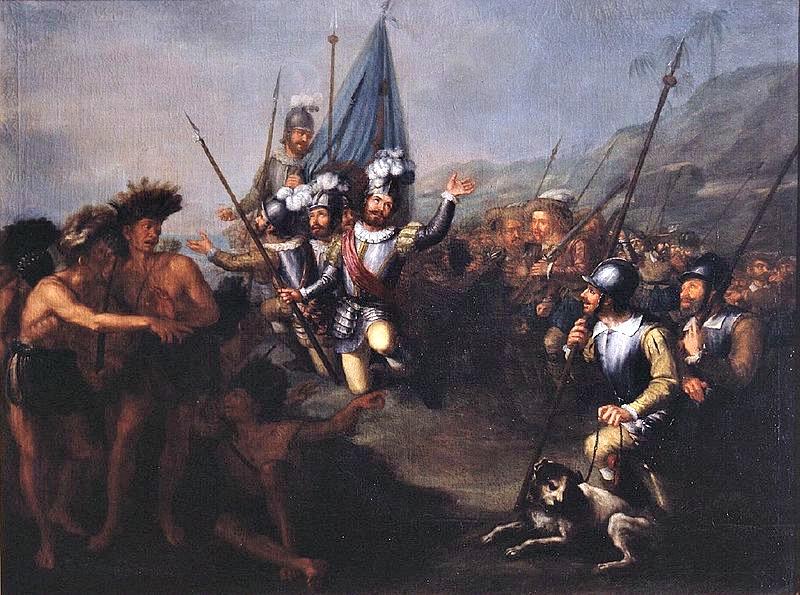 """""""Desembarco de Cortés"""", óleo del pintor Antonio María Esquivel (1806-1857). Museo de Las Américas de Madrid, España. (Public Domain)"""