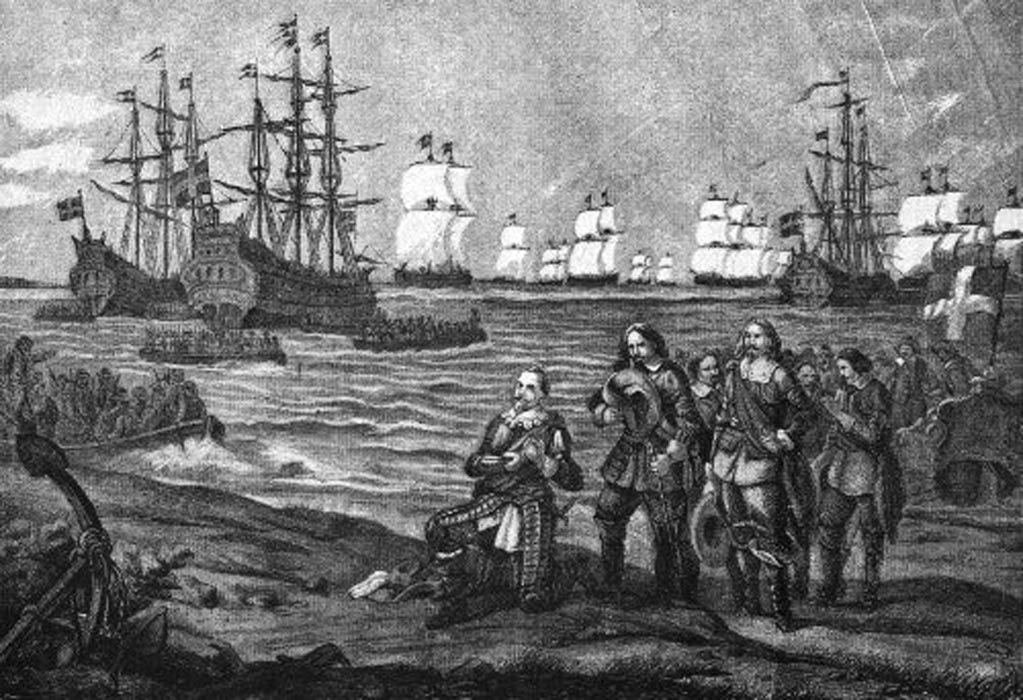 Desembarco de Gustavo Adolfo en Pomerania, cerca de Wolgast (1630) (Public Domain)