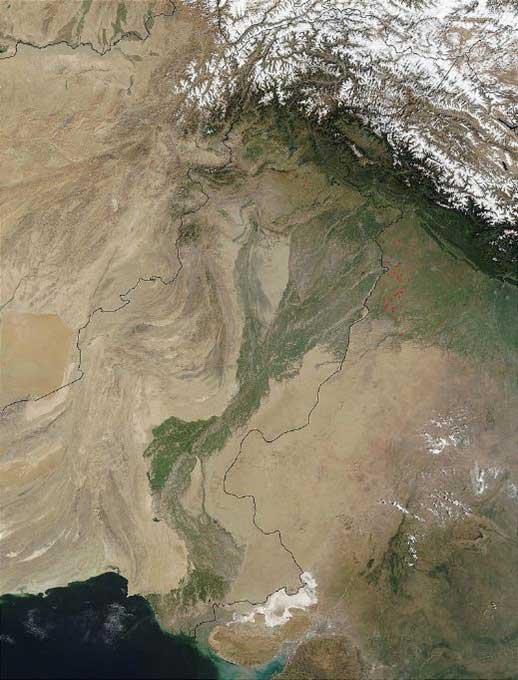 El desierto de Cholistán visto vía satélite. (Public Domain)