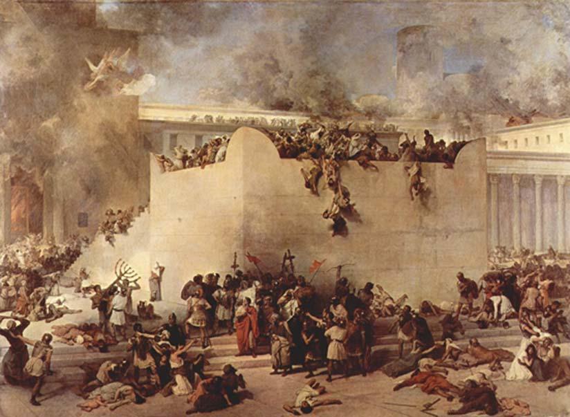 'La destrucción del Templo de Jerusalén', óleo de Francesco Hayez. En el año 70 d. C., el Segundo Templo de Jerusalén fue destruido por las legiones romanas en el transcurso de la Primera Guerra Judeo Romana (Dominio público)