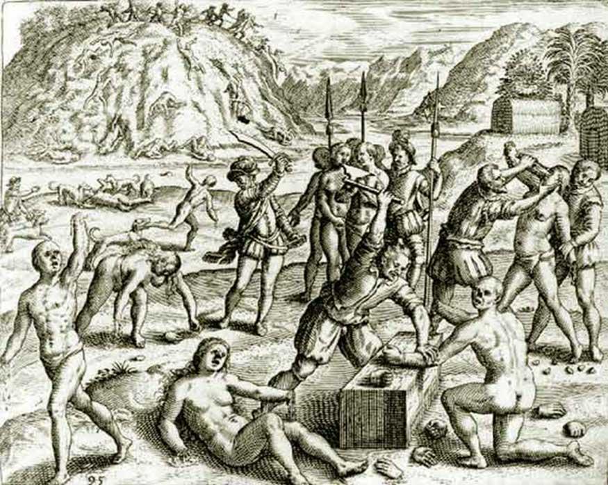 """""""Yo afirmo que yo mesmo vi ante mis ojos a los españoles cortar manos, narices y orejas a indios e indias sin propósito, sino porque se les antojaba hacerlo, y en tantos lugares y partes que sería largo de contar. Y yo vi que los españoles les echaban perros a los indios para que los hiciesen pedazos, y los vi así aperrear a muy muchos."""" Bartolomé de las Casas, 'Brevísima relación de la destrucción de las Indias', 1552 (Dominio público)"""
