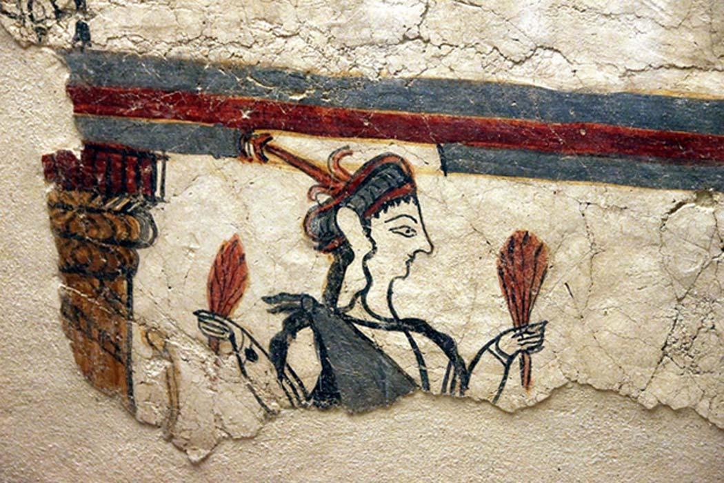 Este detalle de una 'Potnia Theron' ('Señora de los Animales') pertenece al fragmento de mayor tamaño que ha llegado hasta nuestros días de una pintura de un muro micénico, Micenas (Grecia) (CC BY 2.0)