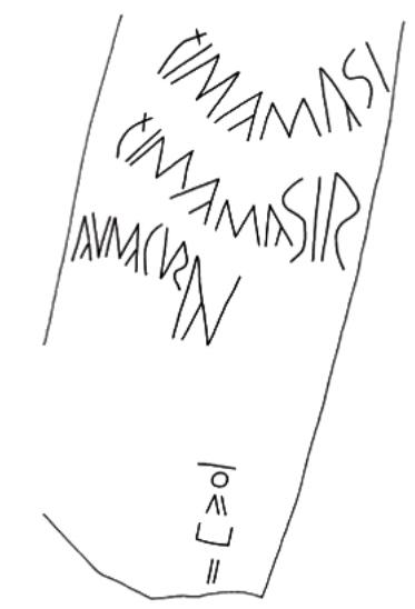 Detalle de la inscripción bilingüe de Fuerteventura, tomado del estudio de Georgeos Díaz-Montexano