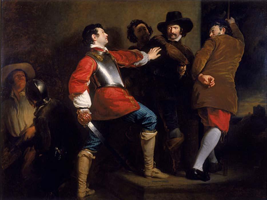 """Pintura en la que se retrata la detención de Guy Fawkes, uno de los conspiradores, por el soldado realista Sir Thomas Knevet; Guy Fawkes (1570-1606) y Robert Catesby, entre otros, intentaron volar en 1605 el palacio de Westminster en un atentado fallido que recibio el nombre de la """"Conspiración de la Pólvora"""". (Public Domain)"""
