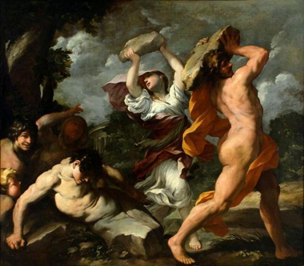 'Deucalión y Pirra', óleo de Giovanni Maria Bottalla pintado en 1635 (Wikimedia Commons)