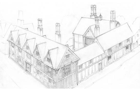 Uno de los dibujos del Shakespeare Birthplace Trust destinados a recrear la apariencia original de New Place, hogar definitivo de Shakespeare