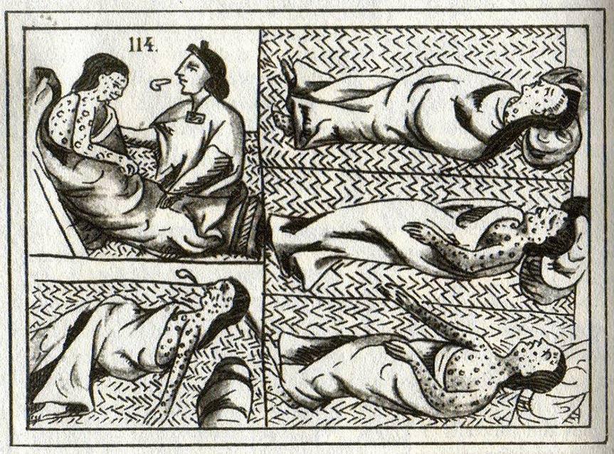 Dibujo azteca del siglo XVI en el que se observan víctimas de la viruela. (Public Domain)