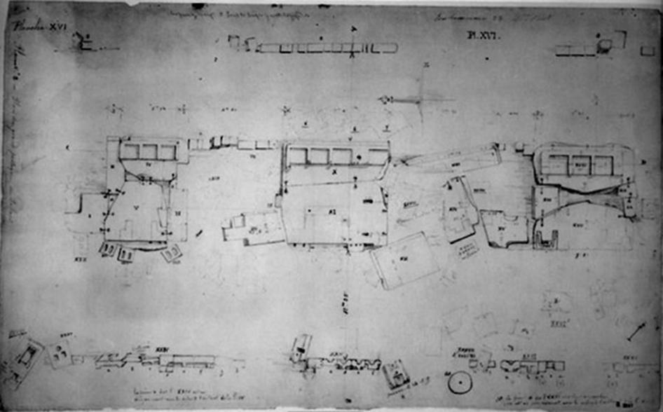 Dibujo de las losas de piedra arenisca realizado en 1848 por Leonce Angrand. Obsérvense los contornos geométricos tallados en las losas que en el pasado formaron parte de una imponente arquitectura. (Fuente de la imagen: Heritage Science)