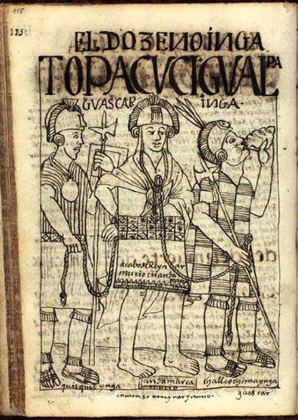 Huáscar cautivo del ejército de Atahualpa, dibujo de Felipe Huamán Poma de Ayala.(Public Domain)