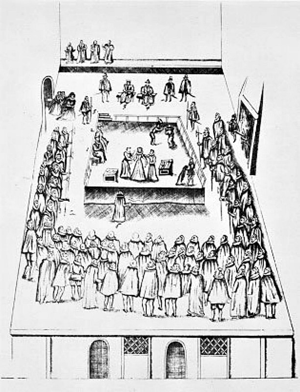 Dibujo de la ejecución de la reina María I de Escocia, realizado para documentar la memoria oficial del proceso. (Public Domain)