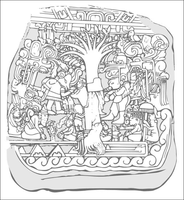 Dibujo del relieve de la Estela 5 de Izapa. (CC by SA 3.0)