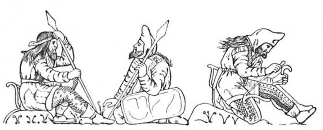 Guerreros escitas dibujados a partir de las figuras de una copa de electrum hallada en el enterramiento de un kurgan de Kul'Oba, yacimiento cercano a Kerch (Crimea). El Guerrero de la derecha está encordando su arco mientras lo sujeta con su pierna. Todos ellos parecen haber llevado habitualmente su cabello largo y suelto. Parece ser además que todos los hombres escitas adultos se dejaban crecer la barba. Los otros dos guerreros de la izquierda están conversando, empuñando ambos lanzas o jabalinas. El hombre de la izquierda lleva puesta una diadema, y por lo tanto es probable que represente al rey de los escitas. (Dominio público)