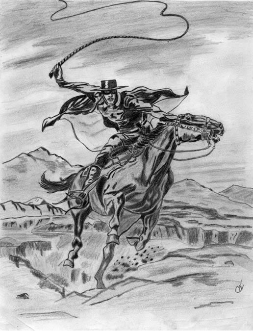 Dibujo a lápiz del Zorro obra de Charles V. Norris (Public Domain)