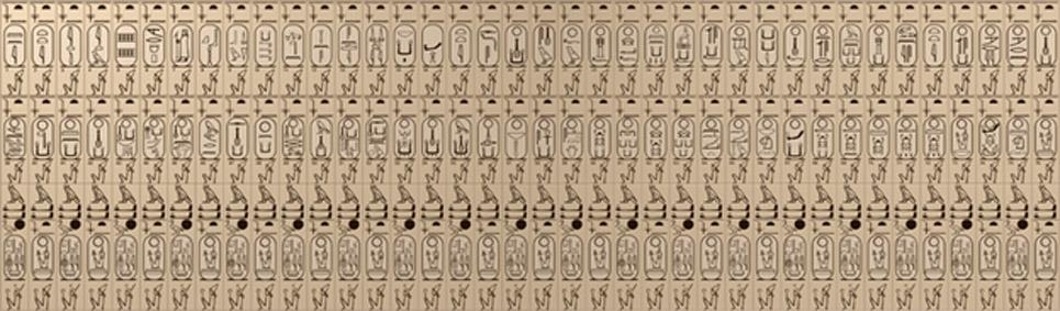 Dibujo de los cartuchos de la lista de reyes de Abidos. (PLstrom/CC BY SA 3.0)