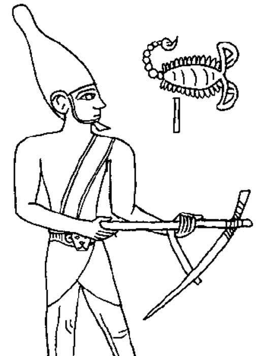Dibujo del relieve grabado sobre la maza del rey Escorpión, Museo Ashmolean. (CC BY-SA 3.0 de)