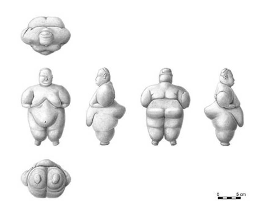 Ilustraciones de la figurita femenina hallada recientemente en el antiguo asentamiento de Çatalhöyük, Turquía. (Killackey Illustration and Design)