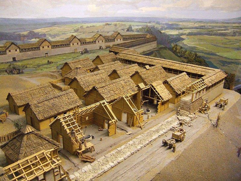 La construcción del asentamiento de Heuneburg a principios del siglo VI a. C. (detalle de un diorama del Museo de Heuneburg, Hundersingen). (LepoRello/CC BY-SA 3.0)