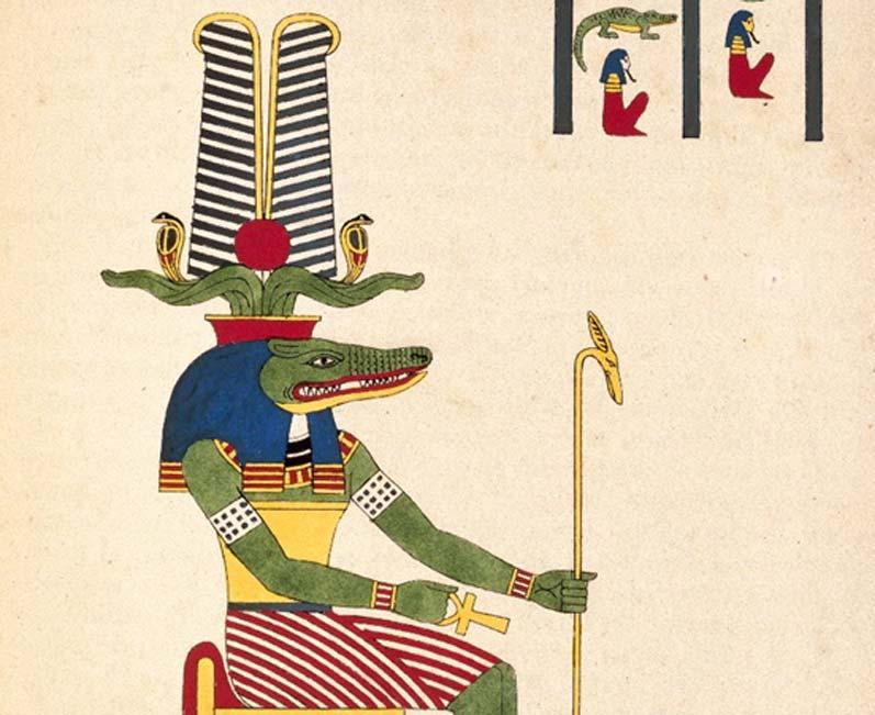 Detalle de una ilustracion de Sobek, el dios cocodrilo del antiguo Egipto. (Museo de Brooklyn)